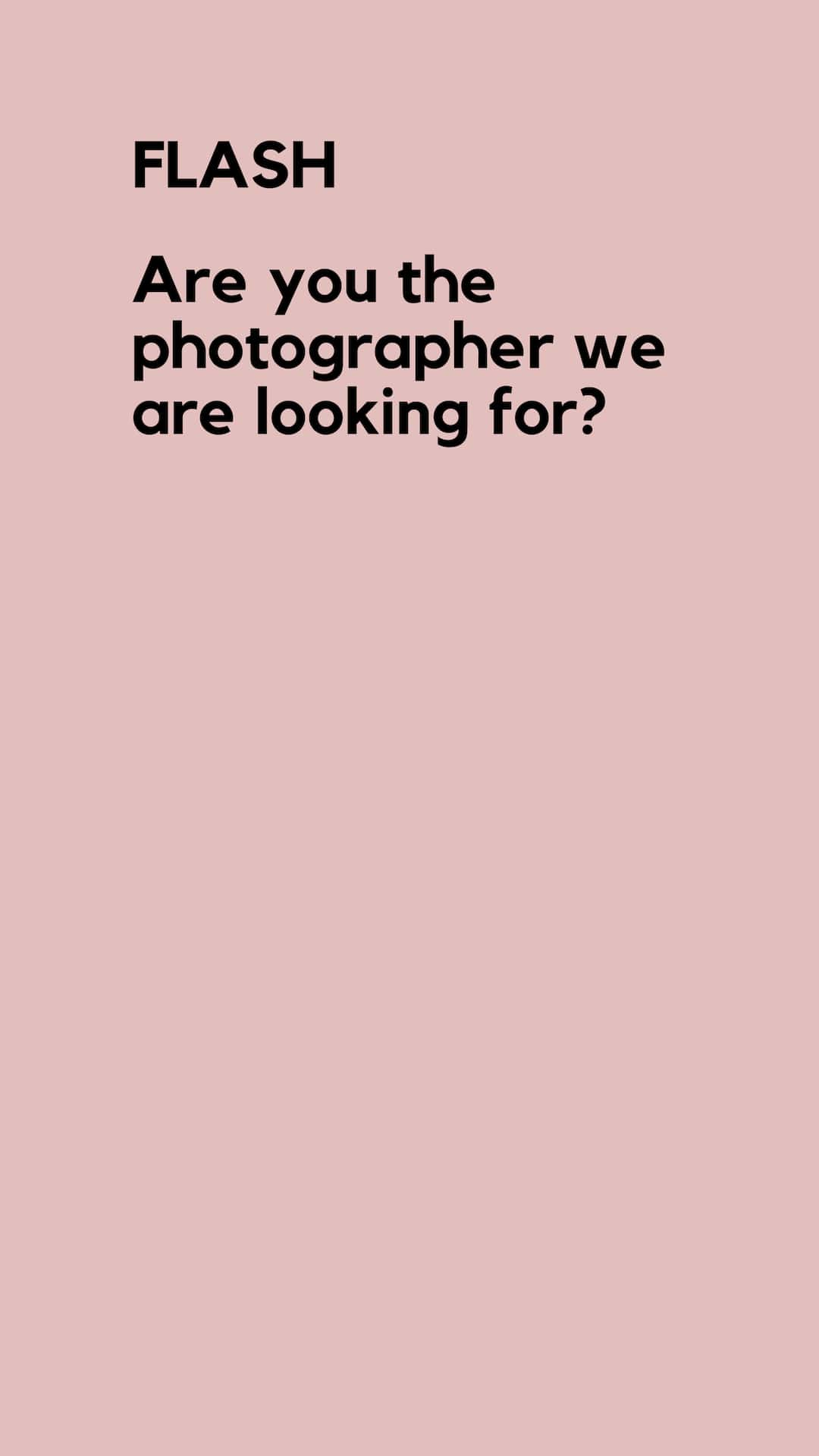 wanted | Photographers