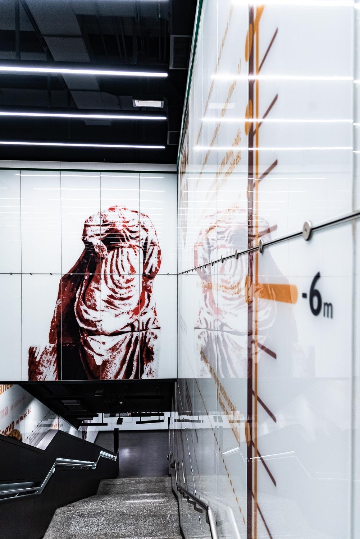 Indicazione della profondità nella Metro C di Roma, fermata San Giovanni