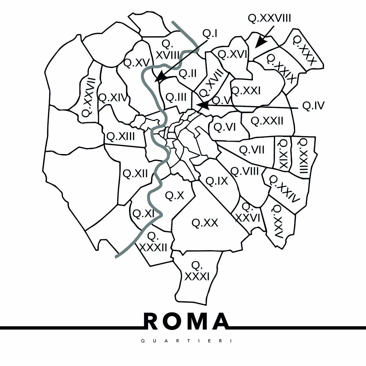 urbe mmxx mappa quartieri e rioni di roma