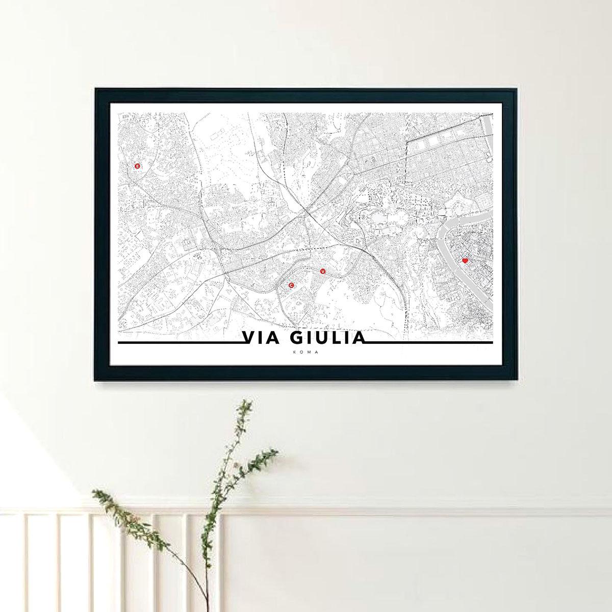 URBE mmxx mappa di Roma con cornice e puntatori