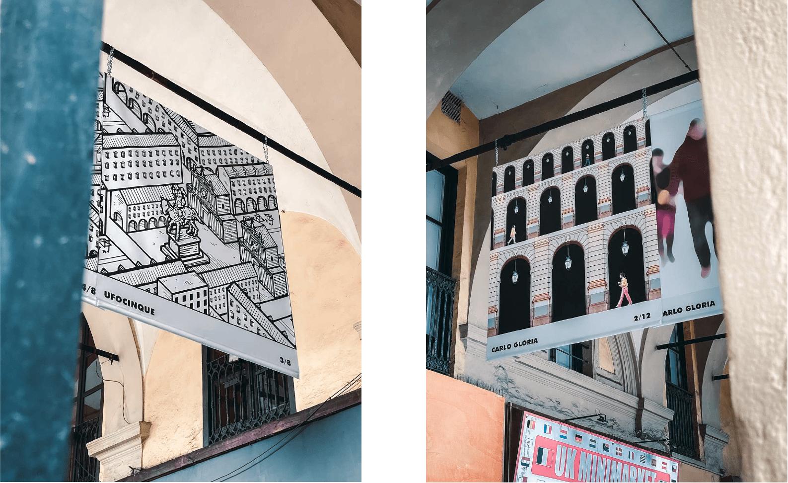 Spazio Portici - Percorsi Creativi, le opere di Carlo Gloria e Ufocinque esposte sotto ai portici di via Nizza, Torino.